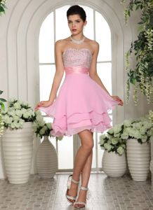 Hot Sale Sweetheart Short Cocktail Dress in Baby Pink with Beading