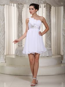 One Shoulder Mini-length Beaded White Cocktail Dresses For Prom