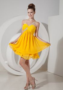 One Shoulder Short Beaded Yellow Prom Cocktail Dress with Ruche