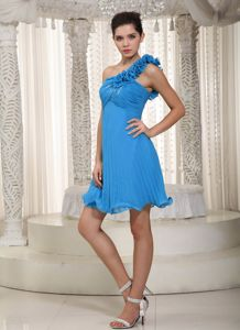 One Shoulder Mini-length Beaded Blue Cocktail Dresses with Flower