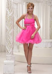 Halter Short Beaded Prom Cocktail Dress in Hot Pink with Flower