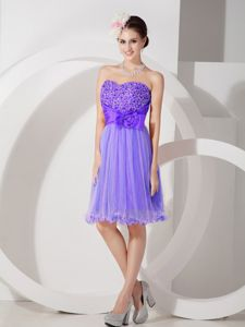 Sweetheart Knee-length Purple Beaded Cocktail Dress with Flower