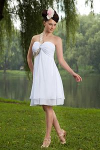 Single Shoulder White Wedding Cocktail Party Dresses with Beading