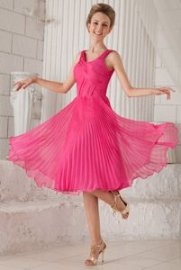 Hot Pink Bateau Ruche Pleat Evening Cocktail Dress with Tea-length