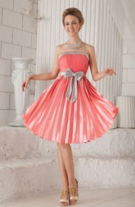 Watermelon Strapless Ruche Pleat Prom Cocktail Dresses with Bow