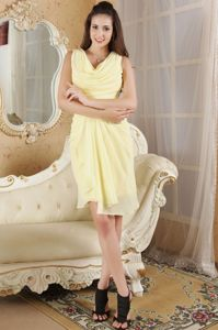 Yellow Draped Neck Dresses for Wedding Cocktail Party in Chiffon