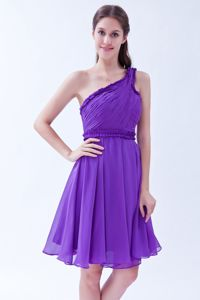 Sweet Purple One Shoulder Chiffon Cocktail Party Dress with Ruche
