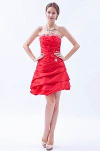 Red Strapless Ruche Beading Wedding Cocktail Party Dress Hot Sale