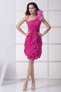 Discount Clearance One Shoulder Fuchsia Cocktail Dress with Ruche