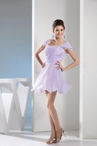 Lilac Square Cap Sleeves Prom Cocktail Dresses with Ruched Bodice
