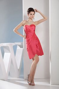 Red Sweetheart Ruched Evening Cocktail Dress with Zipper up Back