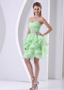 Cute Yellow Green Ruffle Ruche Evening Cocktail Dress with Beading