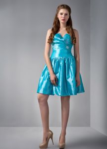 Plus Size Teal V-neck Ruche Beading Cocktails Dress with Mini-length