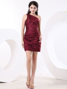 Burgundy One Shoulder Ruche Prom Cocktail Dress with Mini-length