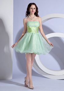 Vintage Apple Green Organza Cocktail Dress with Beading and Ruche