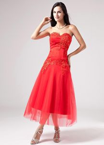Red Sweetheart Beading Appliques Prom Cocktail Dress Ankle-length