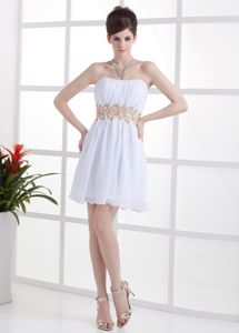 Beautiful White Strapless Ruche Cocktail Dresses with Beaded Waist