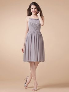 Latest Grey Spaghetti Straps Homecoming Cocktail Dress with Ruche