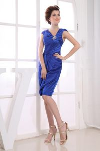 Blue Cap Sleeves Beading Ruche Evening Cocktail Dress on Discount