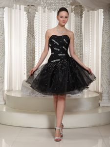 Black Strapless Prom Cocktail Dress with Beading and Ruches 2014
