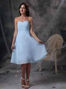 Sky Blue Sweetheart Chiffon Evening Cocktail Dress with Knee-length
