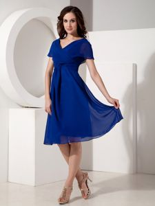 Wholesale Royal Blue Cap Sleeves V-neck Cocktails Dress in Chiffon