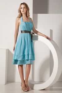 Aqua Blue Halter Top Cocktail Dress for Prom with Beading and Bow