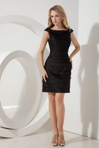 Black Bateau Beading Ruches Evening Cocktail Dresses on Discount