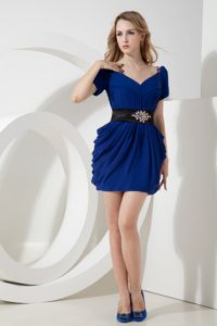 Blue V-neck Beaded Prom Cocktail Dress in Mini-length Chiffon