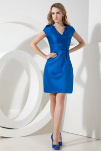V-neck Ruched Royal Blue Homecoming Cocktail Dresses in Satin