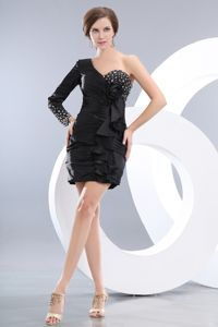 One Shoulder Beaded Short Black Prom Cocktail Dress Mini-length