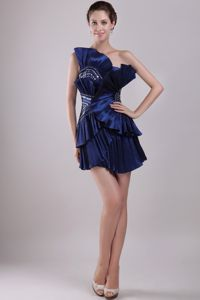 Strapless Mini-length Beaded Prom Cocktail Dress Navy Blue