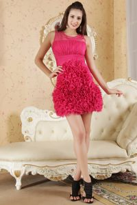 Hot Pink Scoop Cocktail Party Dresses Chiffon Ruches Mini-length