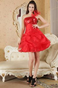 A-line One Shoulder Red Vintage Prom Cocktail Dress with Sequins