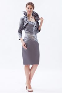 Grey Knee-length Satin Vintage Cocktail Party Dresses with Beading