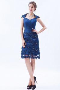 Blue Tulle Prom Cocktail Dress with Beading and Embroidery