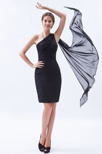 One Shoulder Black Cocktail Reception Dresses Chiffon Ruches
