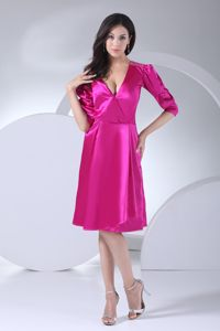 V-neck Hot Pink Cocktail Dress For Prom with Removeable Sash