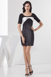 Black and White Homecoming Cocktail Dresses with Short Sleeves