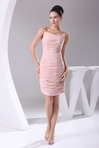 Pink Ruched Beaded Knee-length Stylish Cocktail Dress For Prom
