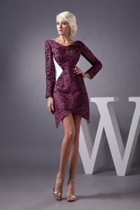 Burgundy Mini-length Cocktail Party Dresses with Long Sleeves