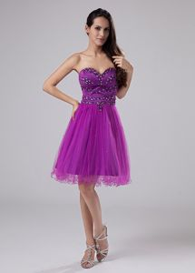 Sweetheart Fuchsia Homecoming Cocktail Dress Beading and Ruches