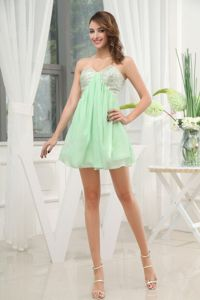 Chiffon Apple Green Sweetheart Cocktail Party Dress with Beading