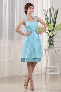 Blue Halter Top Knee-length Cocktail Dress For Prom in Taffeta