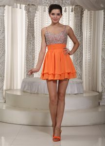 Orange Chiffon Homecoming Cocktail Dress with Beading and Straps