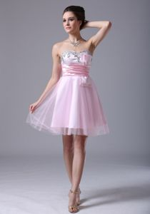 Pink Sweetheart Cocktail Party Dress with Beading and a Sash