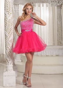 Hot Pink One Shoulder Beaded Cocktail Dress in Tulle and Taffeta