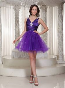 V-neck Purple Homecoming Cocktail Dress with Ruches and Beading