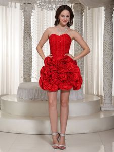Red Sweetheart Prom Cocktail Dress with Rosettes and Beading