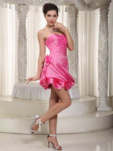 Fuchsia Sweetheart Taffeta Evening Cocktail Dress with Beading